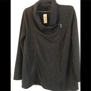 Ann Taylor dark grey sweater with zipper NWT